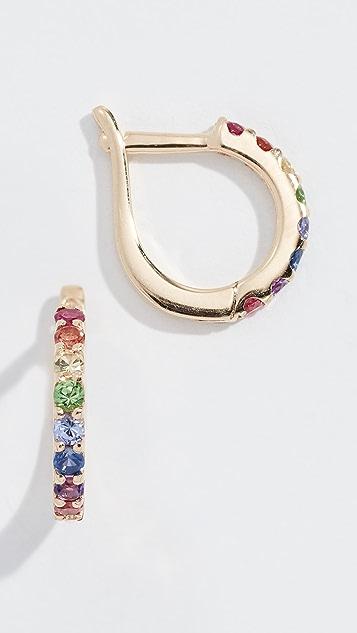 Jane Taylor 14k Large Slim Huggie Earrings - Rainbow