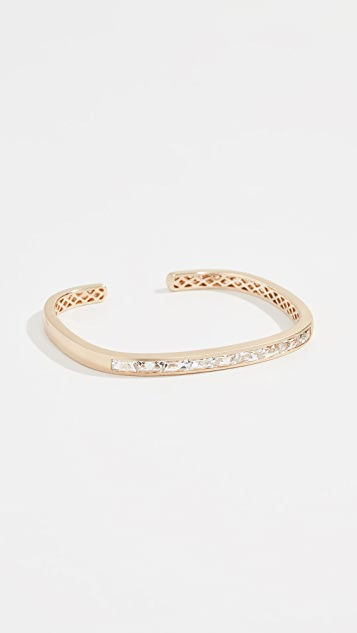 Jane Taylor 14k Hinged Rectangular Cuff Bracelet - Clear