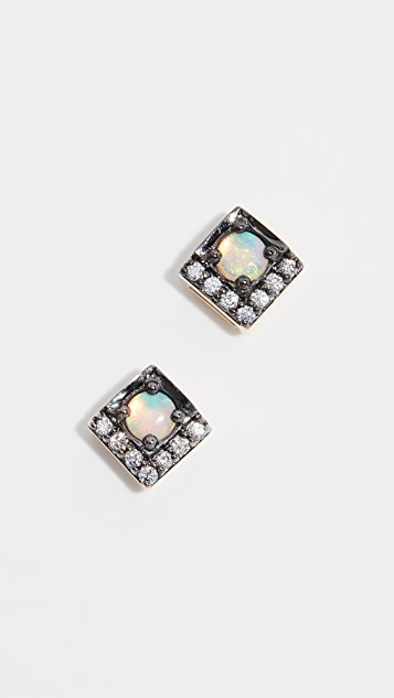 Jane Taylor 14k Petite Square Studs - Opal/Diamonds
