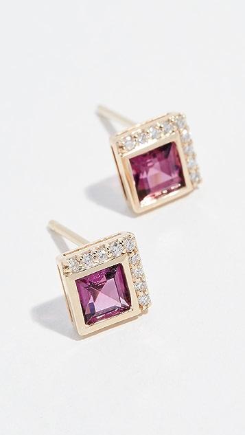 Jane Taylor 14k Square Stud Earrings - Rhodolite/Garnet/Diamonds