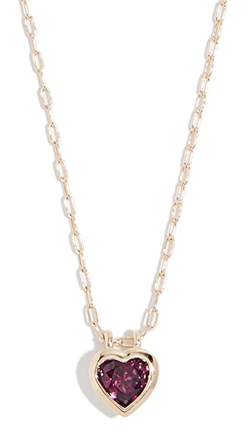 Jane Taylor 14k Medium Heart Bezel Necklace