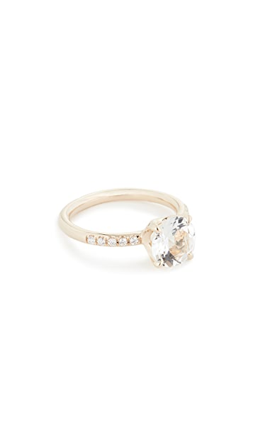 Jane Taylor 14k Solitaire Pavé Band Ring