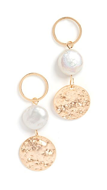 Jules Smith Pearl Disc Drop Earrings