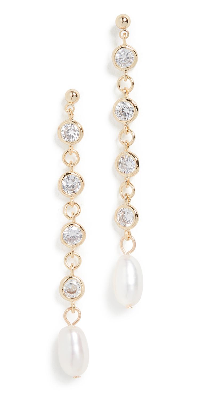 Bling Cultured Pearl Drop Earrings
