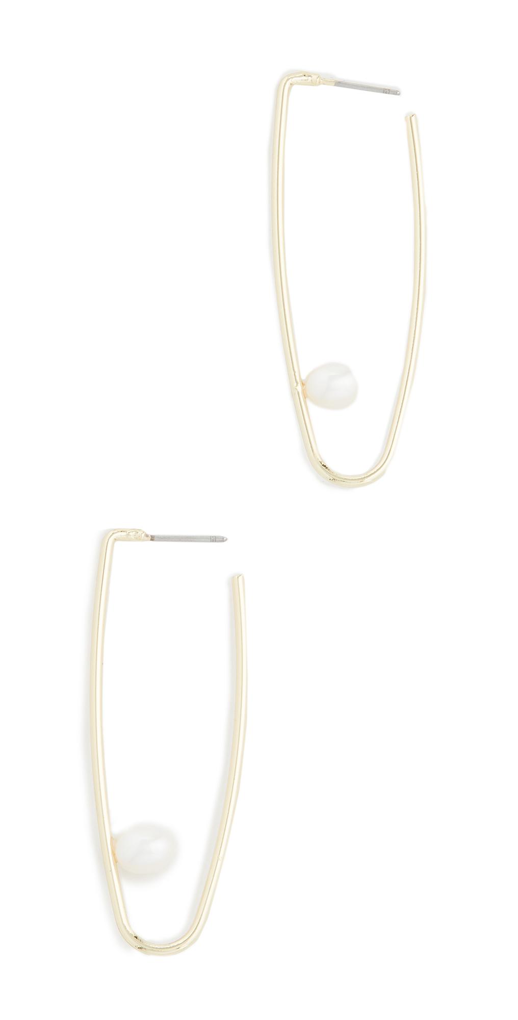Cultured Pearl Drop Hoop Earrings