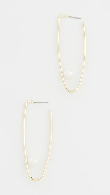 Jules Smith Cultured Pearl Drop Hoop Earrings