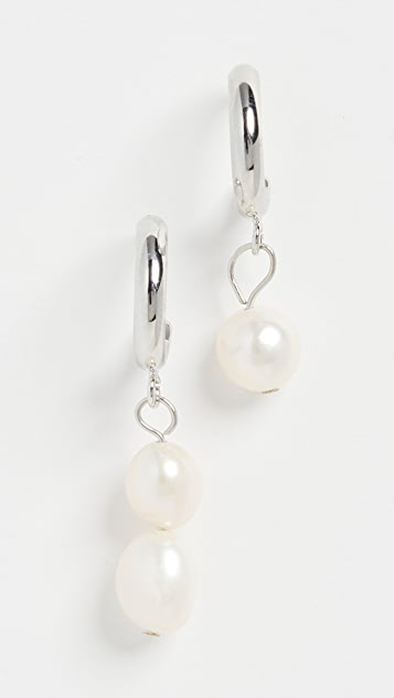 Jules Smith Mismatched Pearl Drop Huggies