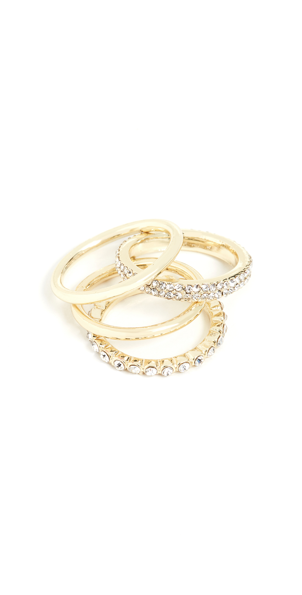 Set Of 4 Solid And Crystal Ring Set