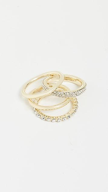 Jules Smith 一套 4 件纯色和水晶戒指套装