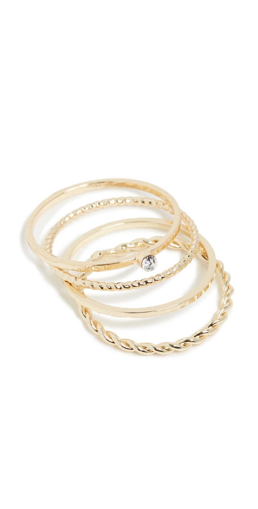 Layered Dainty Crystal Ring Set