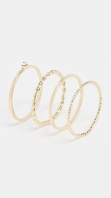 Jules Smith Layered Dainty Crystal Ring Set