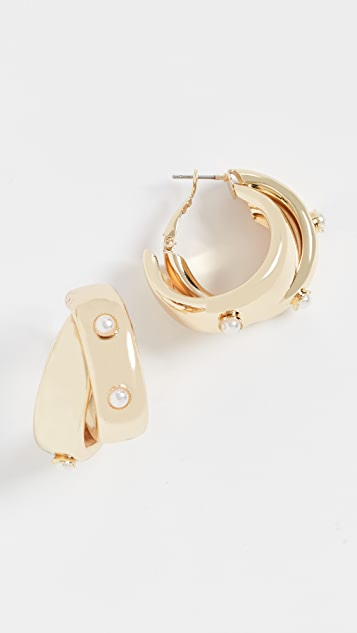 Jules Smith 珍珠复古圈式粗耳环