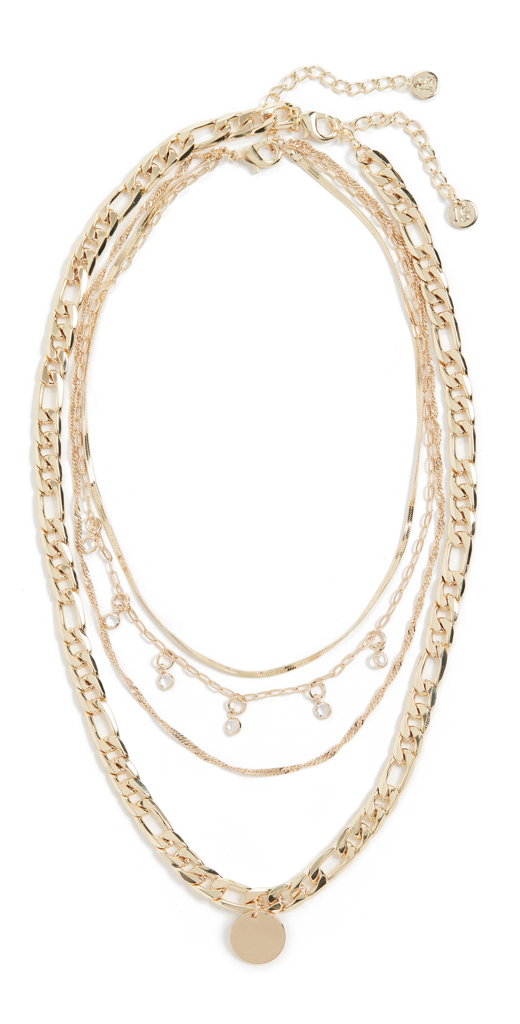 Layered Disc And Crystal Necklace