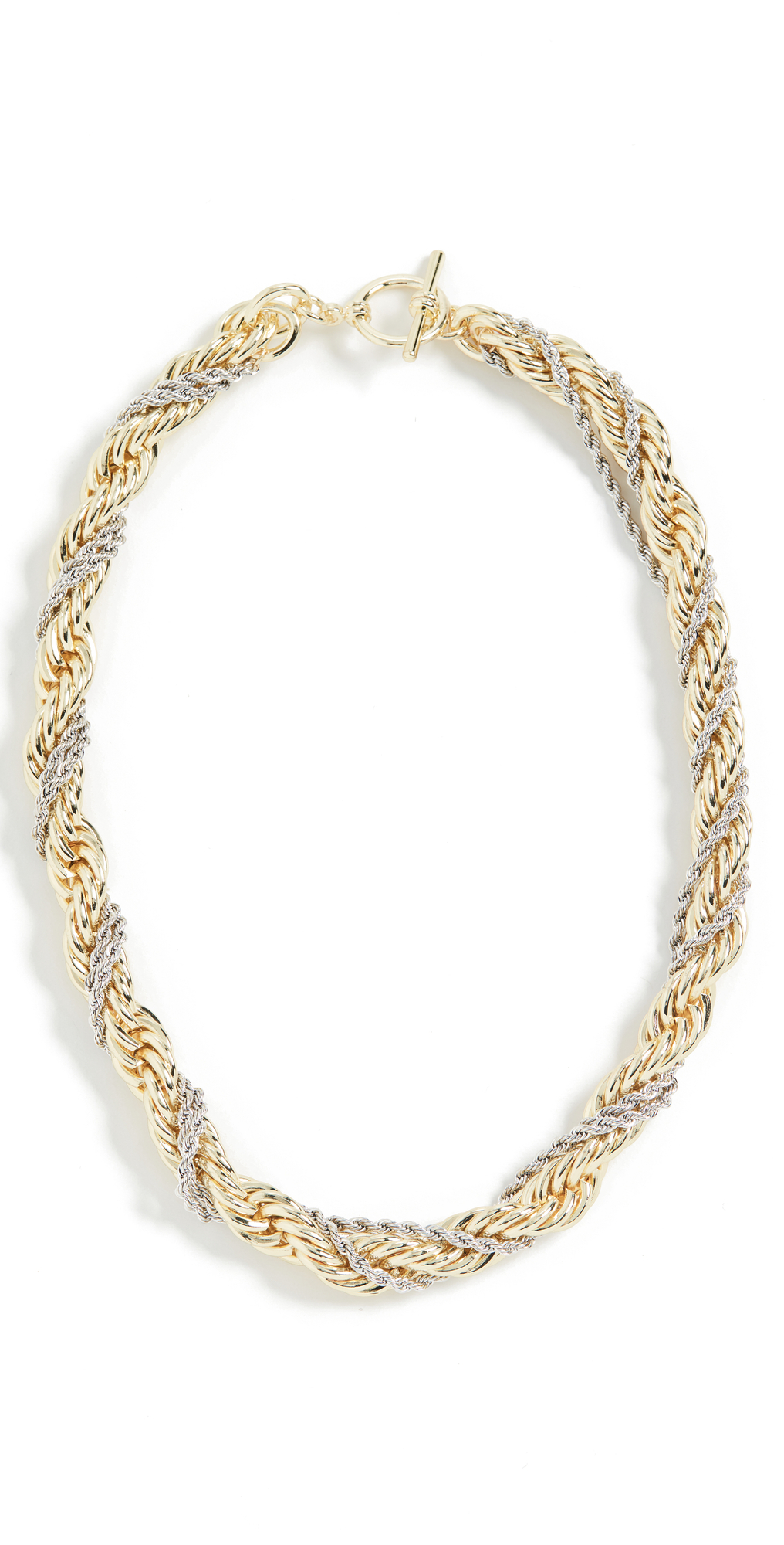 Toggle Rope Chain Two Tone Necklace