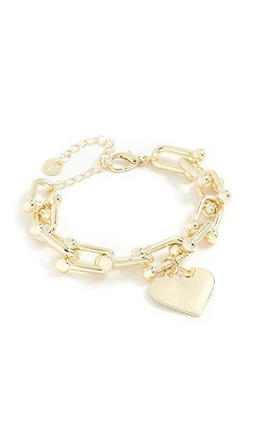 Jules Smith U Chain Link Heart Charm Bracelet