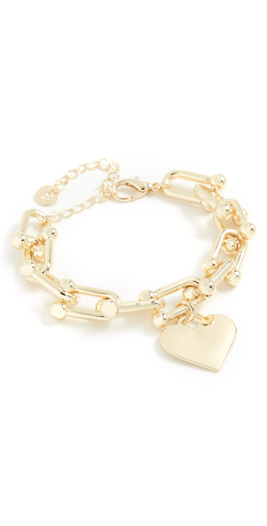 U Chain Link Heart Charm Bracelet