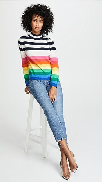 Jumper1234 Mutli Stripe Turtleneck Cashmere Sweater