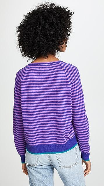 Jumper1234 Tipped Narrow Stripe Boyfriend Cashmere Sweater