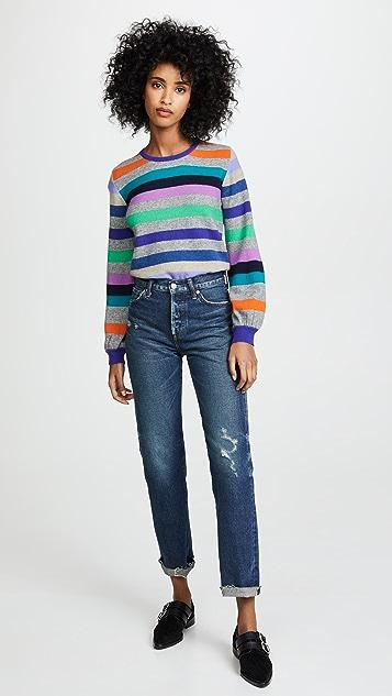 Jumper1234 Rainbow Stripe Balloon Sleeve Cashmere Sweater