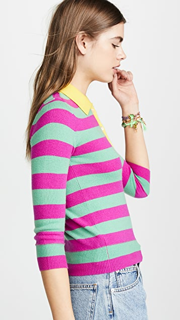 Jumper1234 Stripe Polo Cashmere Sweater