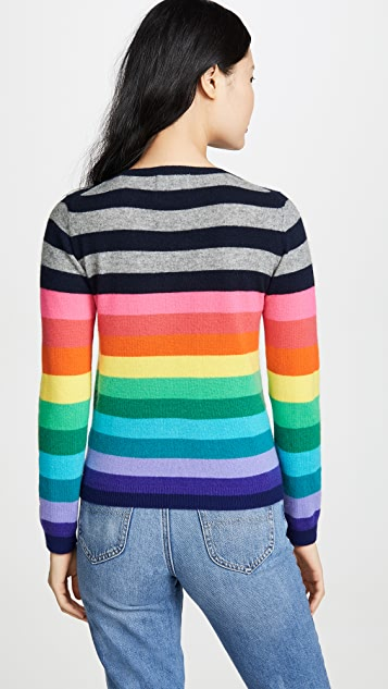 Комбинезон 1234 Кашемировый свитер с округлым вырезом в разноцветную полоску