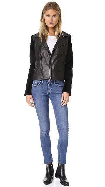 June Moto Jacket with Fur Sleeves