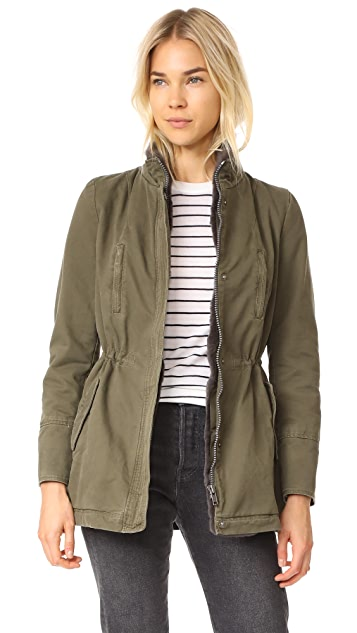 June Stone Washed Parka With Removable Fur Trim