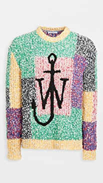 JW앤더슨 스웨터 J.W. Anderson Anchor Patchwork Crewneck Sweater,Black/Multi