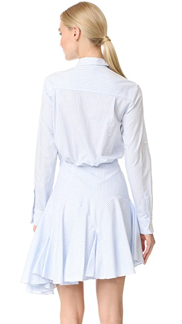 Jason Wu Grey Long Sleeve Stripe Asymmetrical Dress