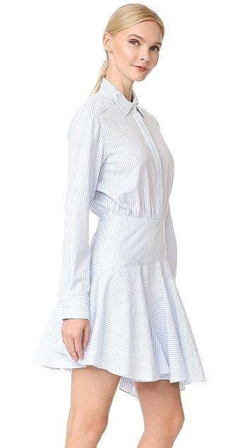 Jason Wu Grey Long Sleeve Stripe Asymmetrical Dress
