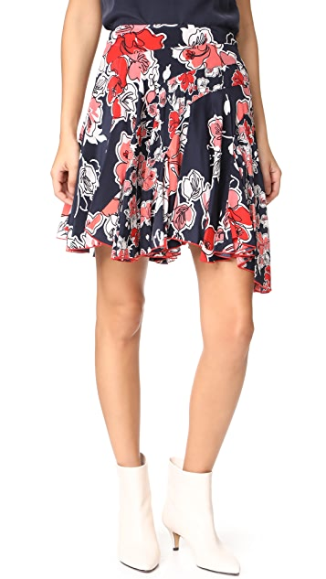 Jason Wu Grey Asymmetrical Tropical Print Skirt