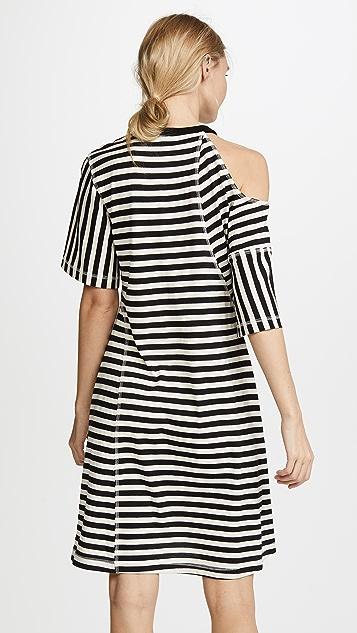 Jason Wu Grey Striped Jersey Cold Shoulder Dress