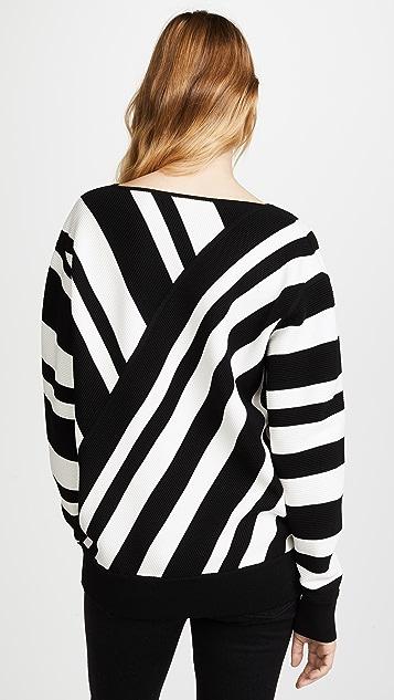 Jason Wu Grey V Neck Long Sleeve Knit Pullover