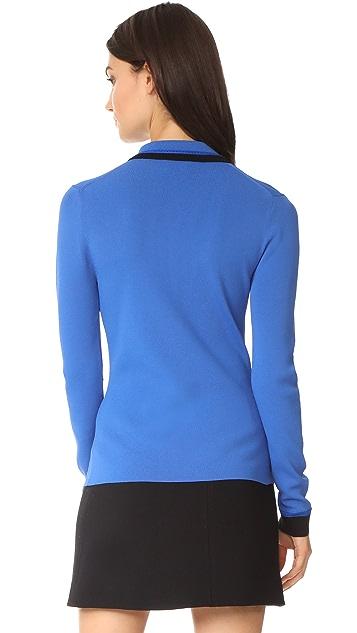 Jason Wu Grey Knit Long Sleeve Polo Shirt