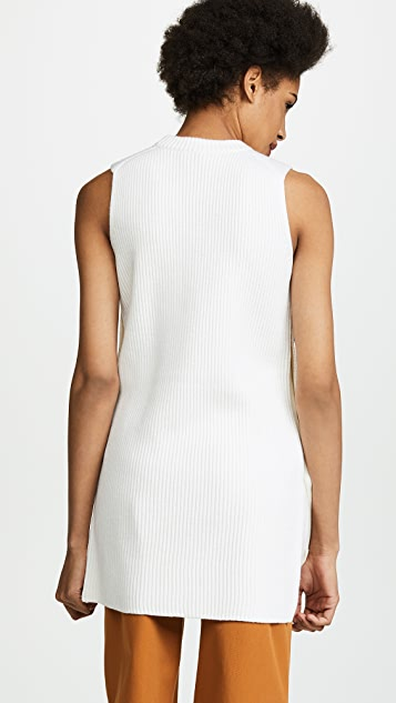 Jason Wu Grey Sleeveless Crew Neck Sweater with Button Detail