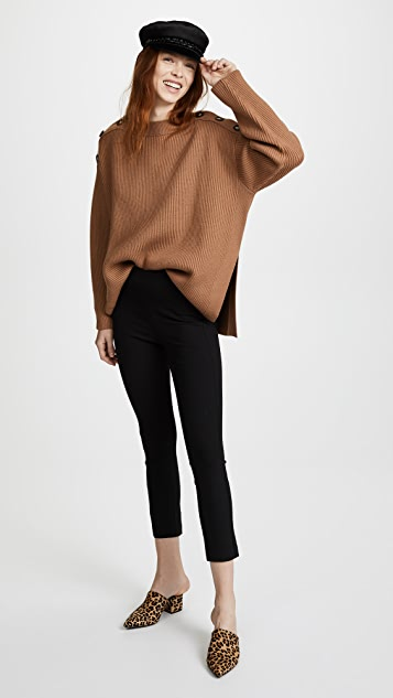 Jason Wu Grey Long Sleeve Sweater with Button Detail