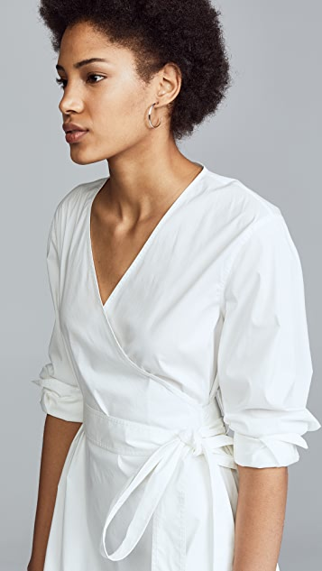 Jason Wu Grey Stretch Cotton Long Sleeve Wrap Dress