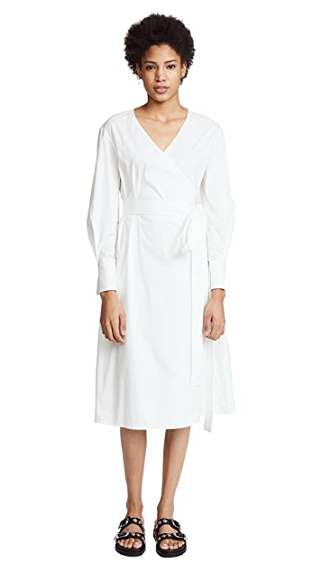 Jason Wu Grey Stretch Cotton Long Sleeve Wrap Dress