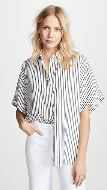 Jason Wu Grey Striped Short Sleeve Blouse - Star White/Elephant