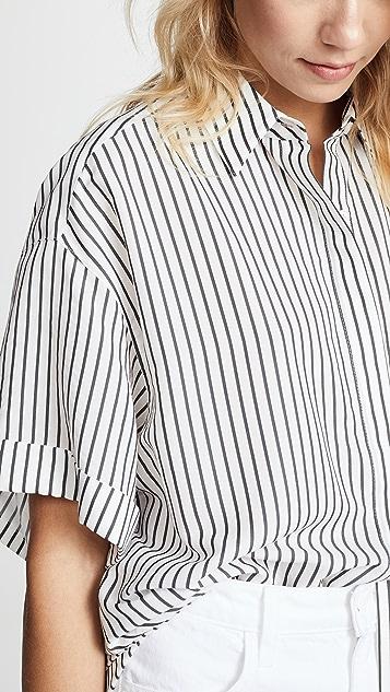 Jason Wu Grey Striped Short Sleeve Blouse
