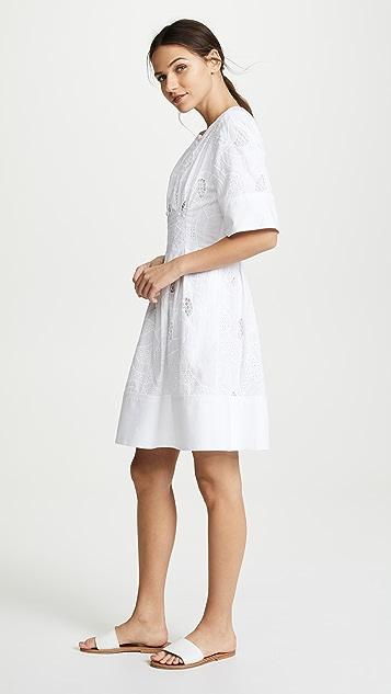 Jason Wu Grey Ribbon Eyelet Short Sleeve Dress