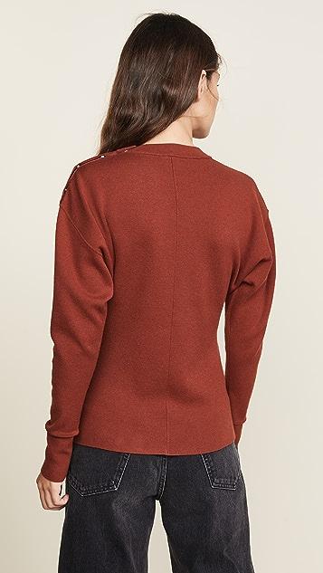 Jason Wu Grey Three Button Long Sleeve Knit Top