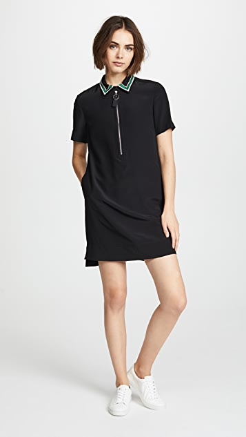 Jason Wu Grey Zip Dress with Embroidered Collar