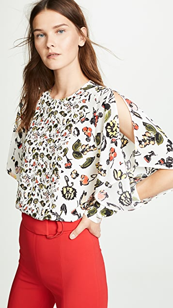Jason Wu Grey Floral Ruffle Sleeve Top