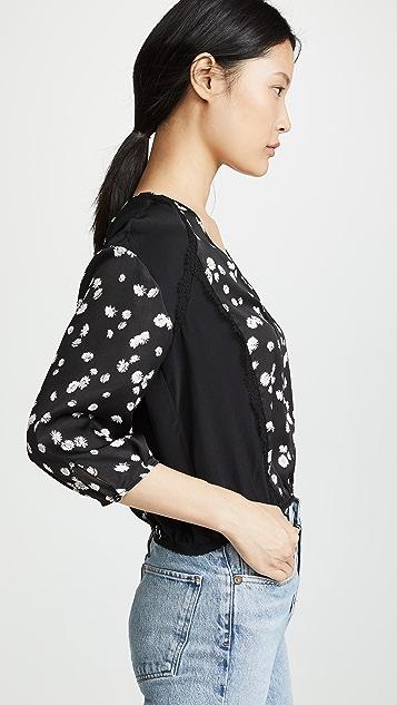 Jason Wu Grey Блуза Spring Daisy с V-образным вырезом и принтом