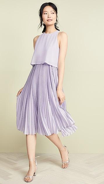 Jason Wu Grey Chiffon Overlay Dress - Pastel Mauve/Dark Navy