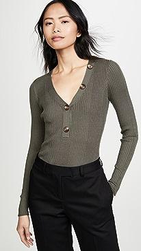 Knit Ribbed V Neck Sweater