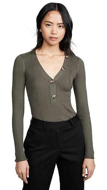 Jason Wu Grey Knit Ribbed V Neck Sweater