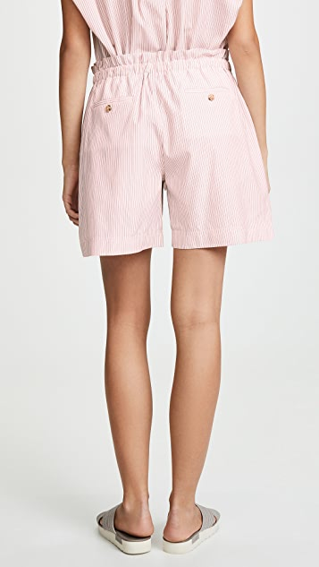 Jason Wu Grey Striped Drawstring Shorts
