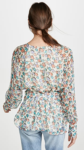Jason Wu Grey Printed Tie Waist Blouse